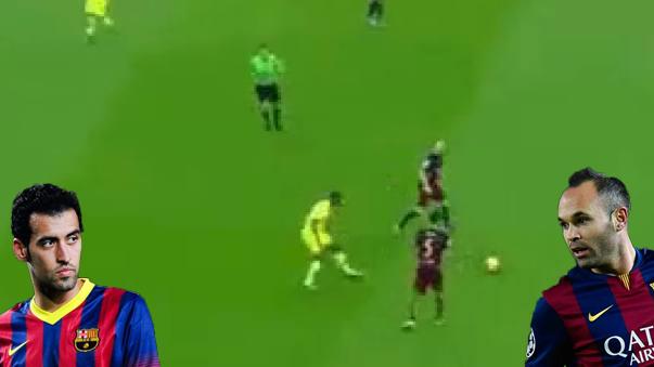 Andrés Iniesta y Sergio Busquets volvieron loco a su rival