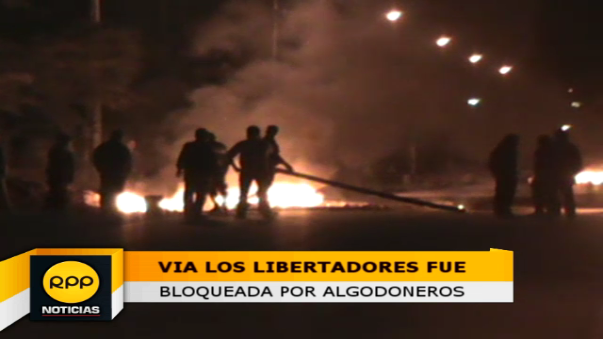 Algodoneros bloquearon la carretera Los Libertadores