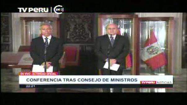 Titular del Gabinete Ministerial, Pedro Cateriano, se pronunció tras Consejo de Ministros sobre el pronunciamiento del JEE contra el presidente Ollanta Humala al considerar que vulneró el principio de neutralidad electoral
