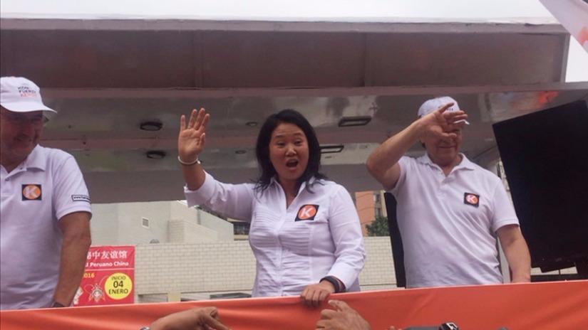 Keiko Fujimori llegó a la sede del JEE, en Jesús María, para inscribir su plancha presidencial.