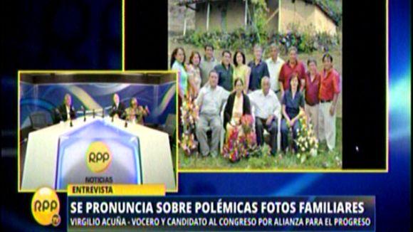 Acuña cuestionó la vinculación al clan Sánchez Paredes por una foto familiar.