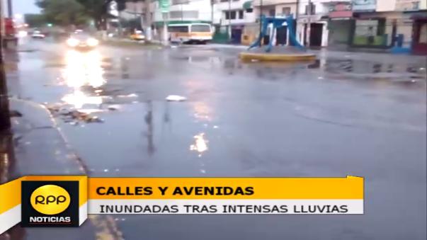 Calles inundadas tras lluvias.