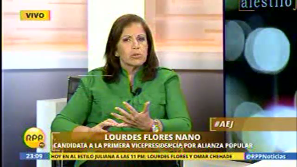 Lourdes Flores, candidata a la primera vicepresidencia de Alianza Popular