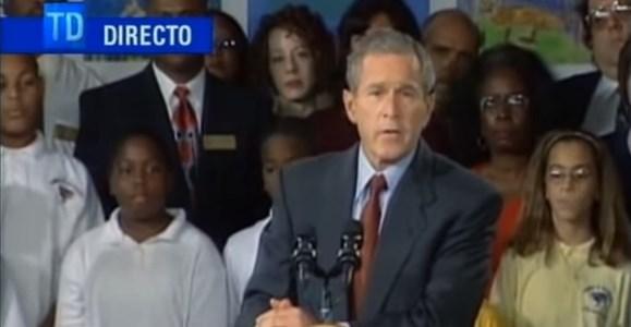 Así relató la televisión internacional el momento preciso del atentado y la respuesta del expresidente Bush