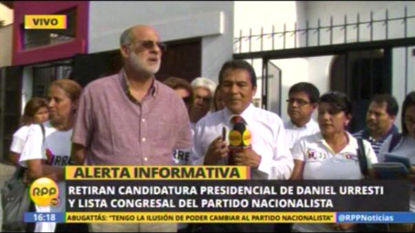 Retiran candidatura presidencial de Daniel Urresti y lista congresal del Partido Nacionalista