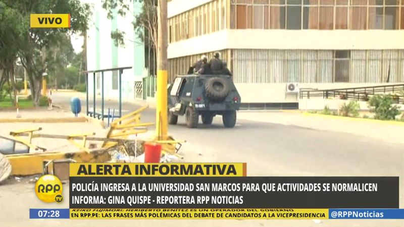 Los policías liberaron los accesos a la sede universitaria.
