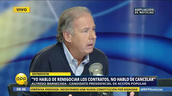 Alfredo Barnechea dice que no cancelará los contratos de gas, sino que los renegociará.