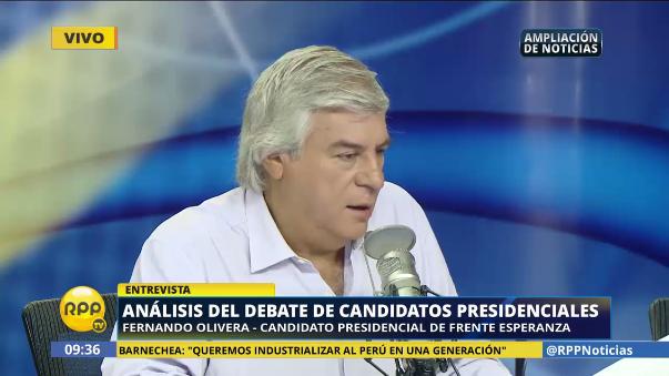 Fernando Olivera dijo a Alan García le tocó ser Goliat en el debate.