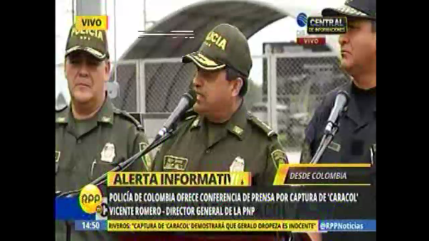 Policía de Colombia ofreció conferencia de prensa tras captura de 'Caracol'