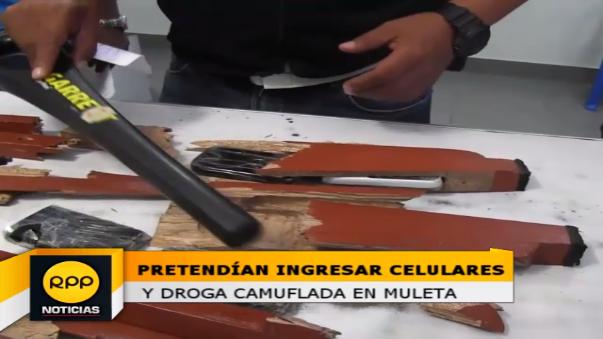 Camuflado en sus muletas un interno pretendió ingresar droga y celulares a la excárcel Rio Seco de Piura.