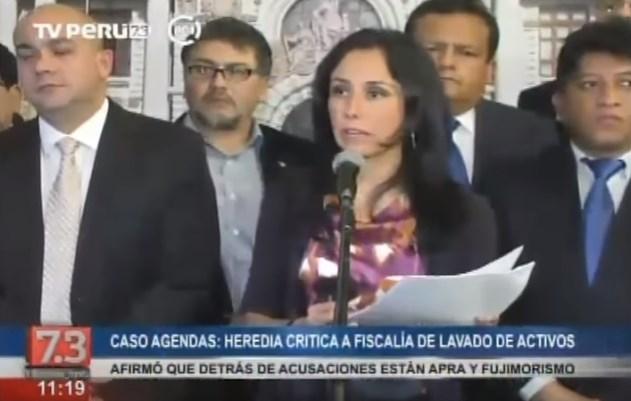 Nadine Heredia criticó a la fiscalía de lavado de activos y acusó politización del tema.