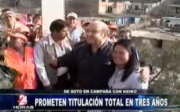 En la campaña de 2011, Hernando De Soto también colaboró con Keiko Fujimori quien meses después sería derrotada en segunda vuelta por Ollanta Humala.