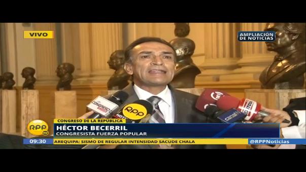 Héctor Becerril calificó de irresponsable relacionar a Keiko Fujimori con lavado de dinero tras la difusión de una investigación a cargo de la DEA a un audio de Joaquín Ramírez.