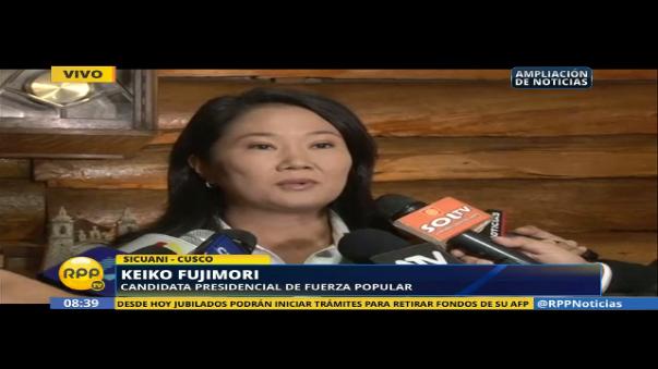 Keiko Fujimori señaló que la denuncia que involucra a Joaquín Ramírez, secretario general de Fuerza Popular, genera zozobra, días antes  las elecciones.