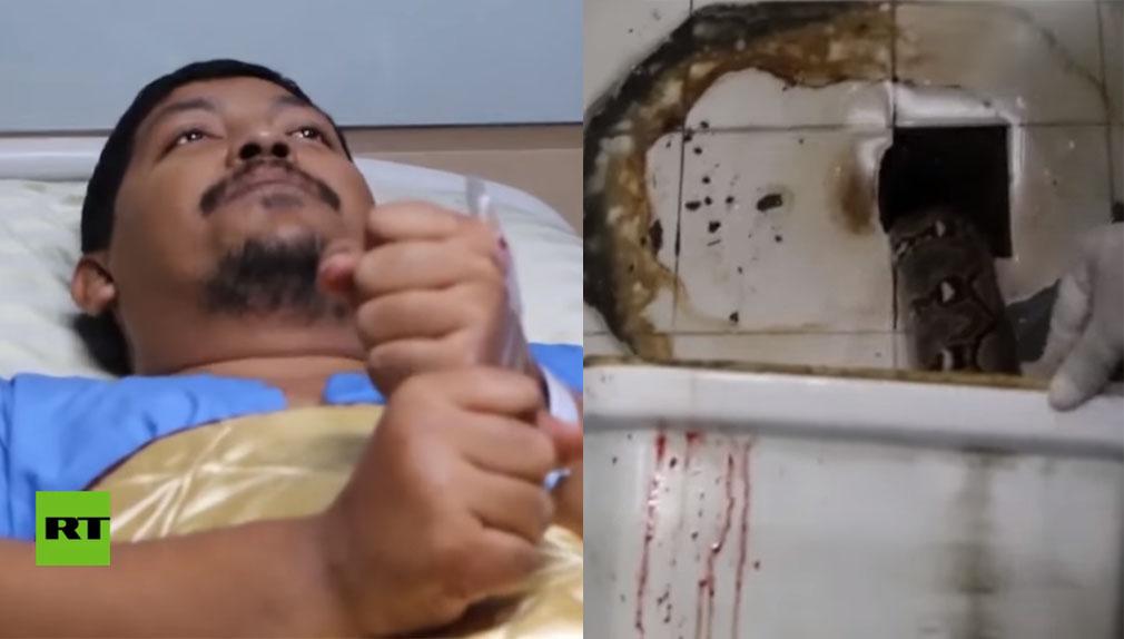 Mientras se encontraba sentado en el retrete fue atacado por una pitón de 3 metros.
