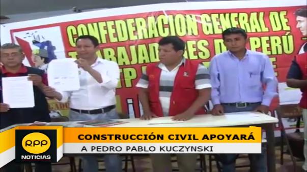 Tras acuerdo nacional, obreros de contrucción civil apoyarán a PPK en la segunda vuelta electoral.