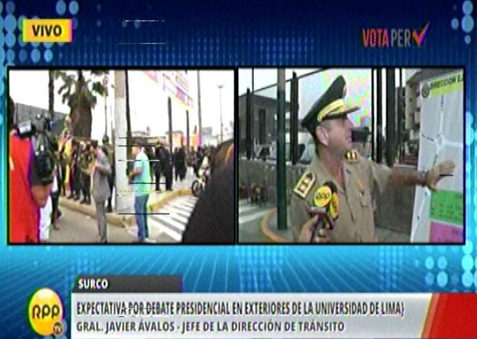Más de mil efectivos custodian el Debate presidencial. Hay calles cerradas aledañas a la Universidad de Lima.