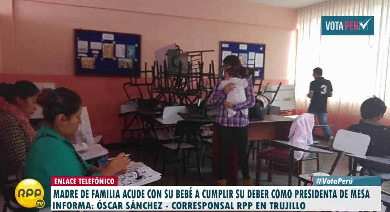 #VotaPerú Trujillo: Madre cumple y es presidenta de mesa pese a no tener con quién dejar a bebé http://rpp.pe/