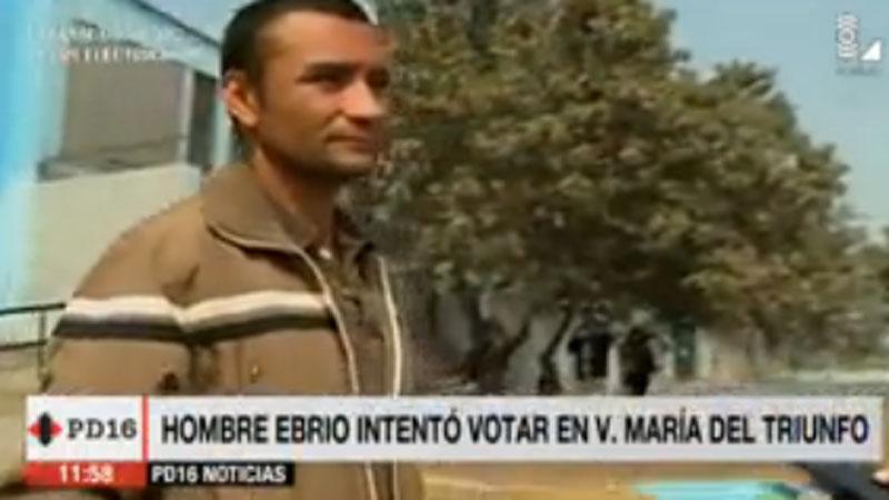 #VotaPerú Sujeto ebrio intentó votar en Villa María del Triunfo