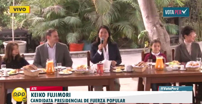 #VotaPerú Keiko Fujimori iniciará su desayuno junto a su familia.