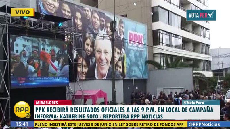 #VotaPerú PPK irá a las 9:00 pm a su local de campaña, en Miraflores, para recibir resultados oficiales.