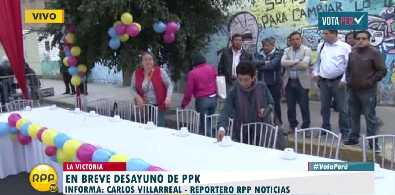 #VotaPerú Desayuno de PPK será en calle del distrito de La Victoria.