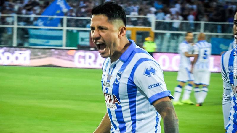 Gianluca Lapadula metió un gol en la final de ida, donde Pescara venció 2-0 a Trapani.