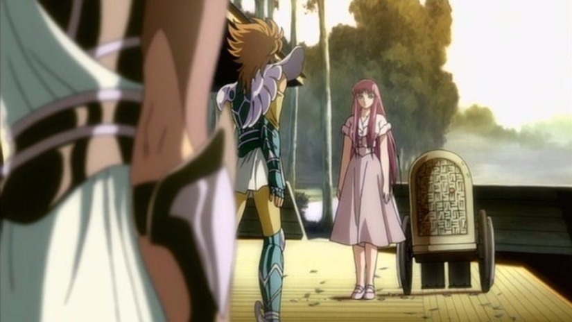 Athena le pide a los enviados por los Dioses que no maten a Seiya