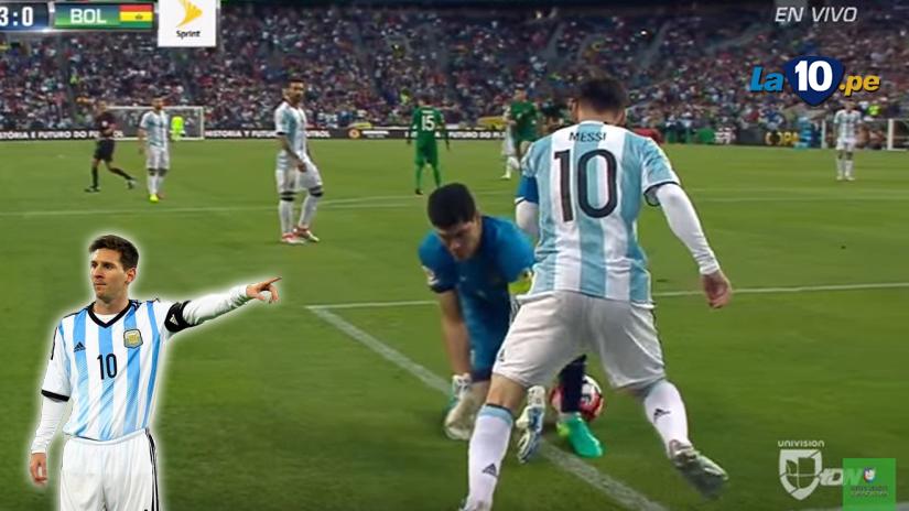 Messi humilló a arquero boliviano con tremenda huacha.