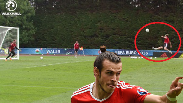 Gareth Bale marcó el primer gol de Gales en la historia de la Eurocopa.