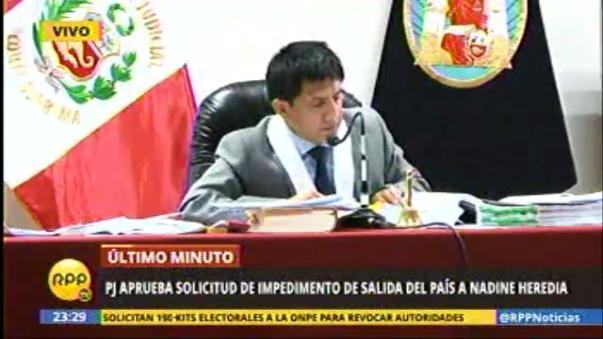 Juez Richard Concepción Carhuancho ordena impedimento de salida del país a Nadine Heredia.