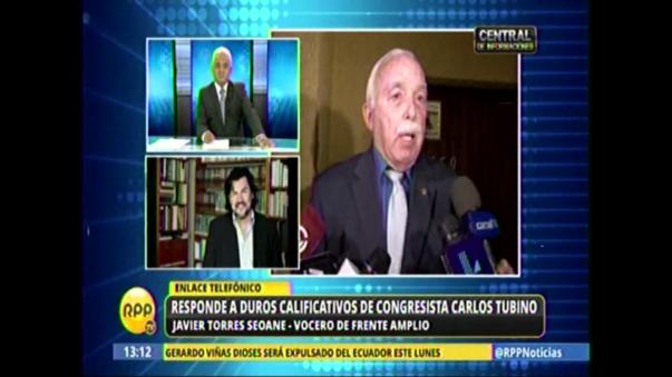 El vocero del Frente Amplio respondió a los calificativos del congresista Carlos Tubino.