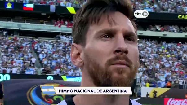 Lionel Messi se emocionó antes del partido ante Chile.
