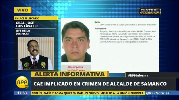 Cae implicado en crimen del alcalde de Samanco en Barranca.