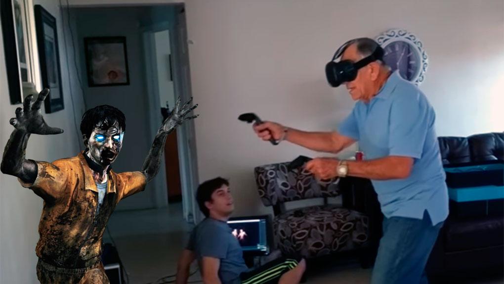Octogenario disfrutó a su manera la realidad virtual.