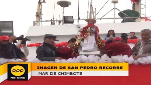 La imagen fue sacada desde tempranas horas de la parroquia San Pedro para la procesión por el mar.