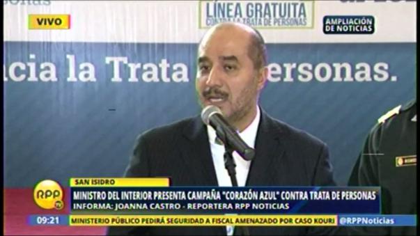 El ministro del Interior, Pérez Guadalupe, participó de la presentación de la campaña 'Corazón Azul'  contra la trata de personas.