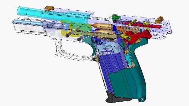 El mecanismo de disparo de la pistola.