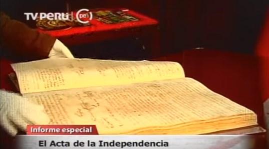 Informe sobre el Acta de Independencia por TV Perú