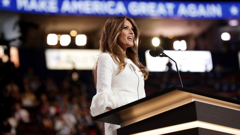 Melania Trump en un momento de su discurso en la convención que elegirá a su esposo Donald Trump como candidato a la presidencia del partido Republicano.