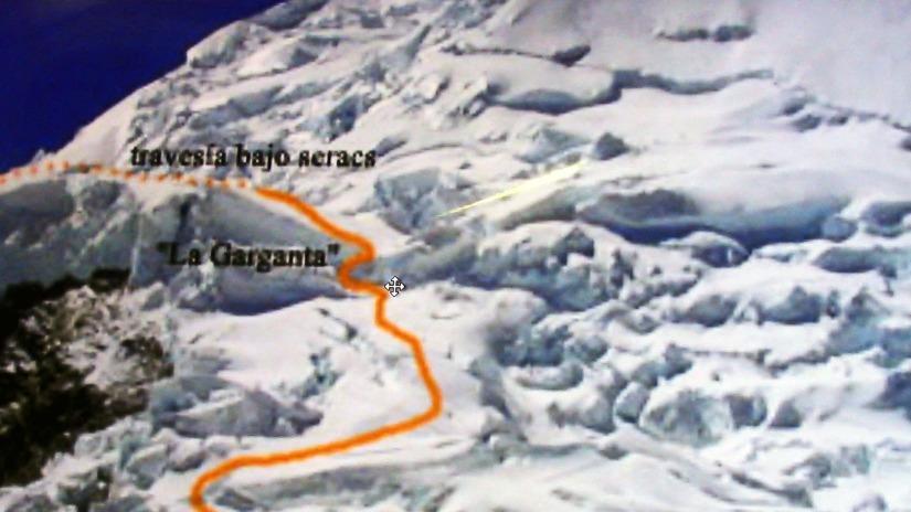 Punto exacto del derrumbe denominado La Garganta o Canaleta del nevado Huascarán.