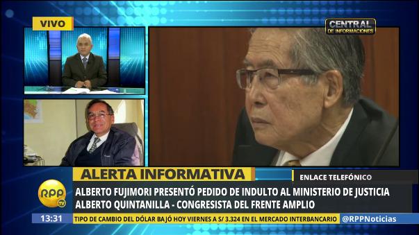 Alberto Quintanilla, también del Frente Amplio, aseguró el pedido de indulto es una jugad política del fujimorismo.
