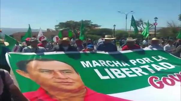 La marcha estuvo encabezada por el gobernador regional de Cajamarca, Porfirio Medina.