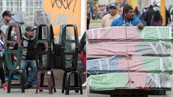 La venta de sillas es otro de los negocios más rentables en los alrededores de la avenida Brasil.