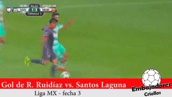 El segundo gol de Raúl Ruidíaz ante Santos Laguna.