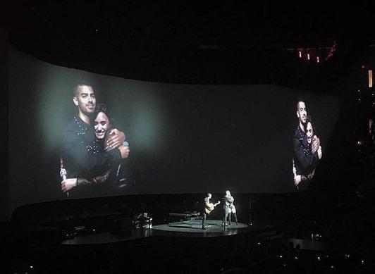 Joe Jonas acompañó a su hermano Nick y Demi Lovato durante un show que brindaban en Washington.