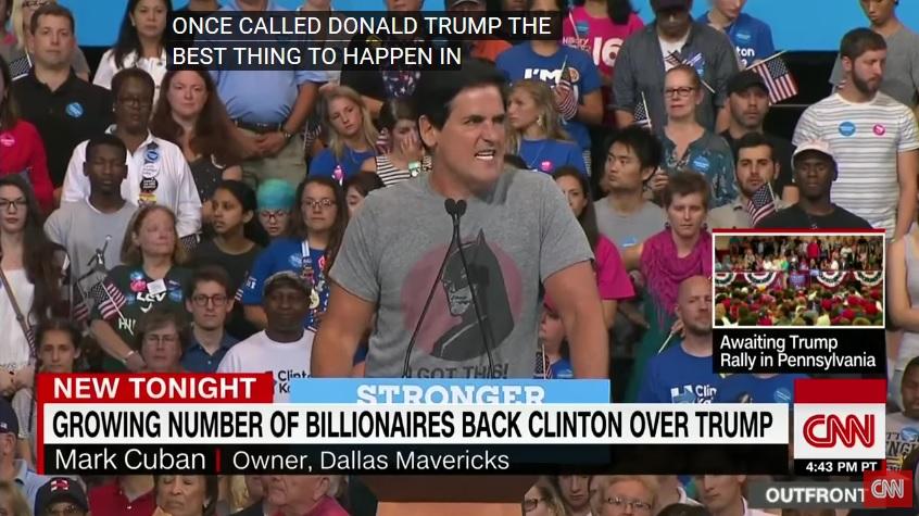 """El millonario exalcalde de Nueva York, Michael Bloomberg, también ha respaldado la candidatura de Hillary Clinton y ha criticado a Donald Trump, a quien acusó de """"demagogo peligroso y timador"""". Otro millonario, Mike Cuban, dueño de los Dallas Mavericks de la NBA, apareció por sorpresa este sábado en un acto de Clinton y también respaldó su candidatura."""