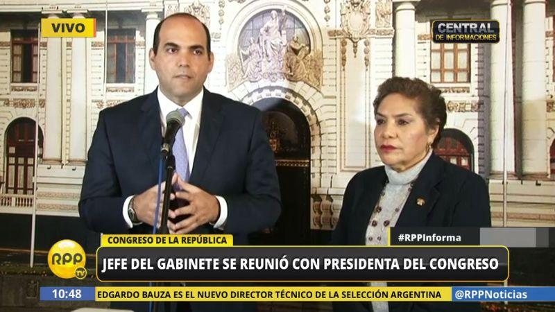 Fernando Zavala dijo también que se le ha pedido a la presidenta del Congreso acudir en quincena de agosto para pedir el voto de confianza.