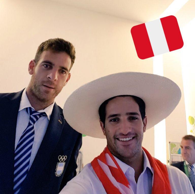 El velerista Stefano Peschiera junto a Juan Del Potro en Río 2016