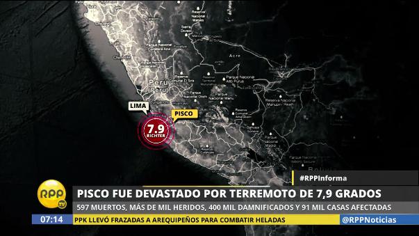 El terremoto de 7.9 grados en la escala de Richter se produjo a las 18:40 del 15 de agosto de 2007.